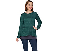 LOGO by Lori Goldstein Sweater Knit Peplum Top with Tank Twin Set - A283029