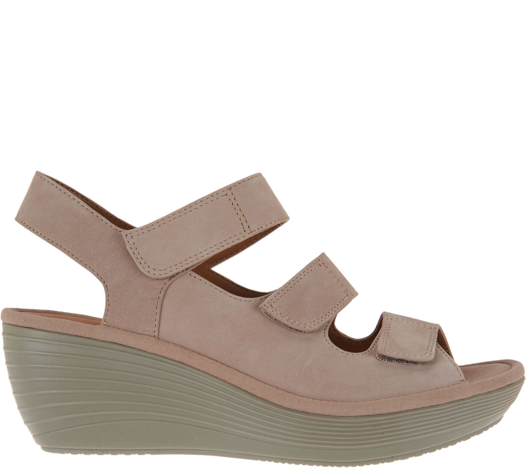 2654af23e881 Clarks Nubuck Triple Strap Wedge Sandals - Reedly Juno - Page 1 — QVC.com