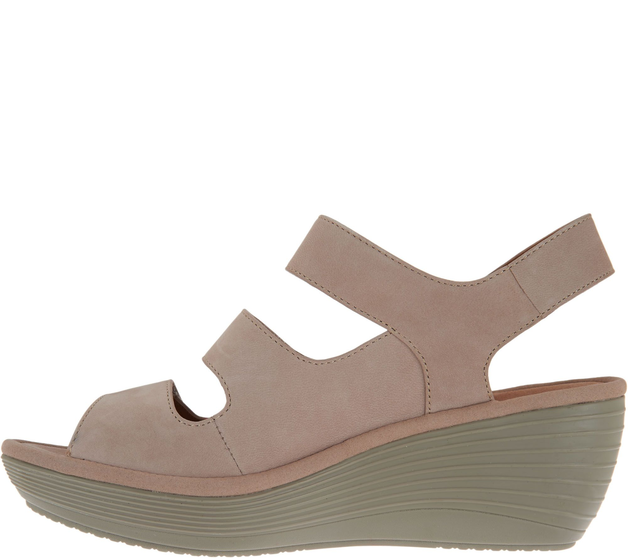 Clarks Nubuck Triple Strap Wedge Sandals Reedly Juno