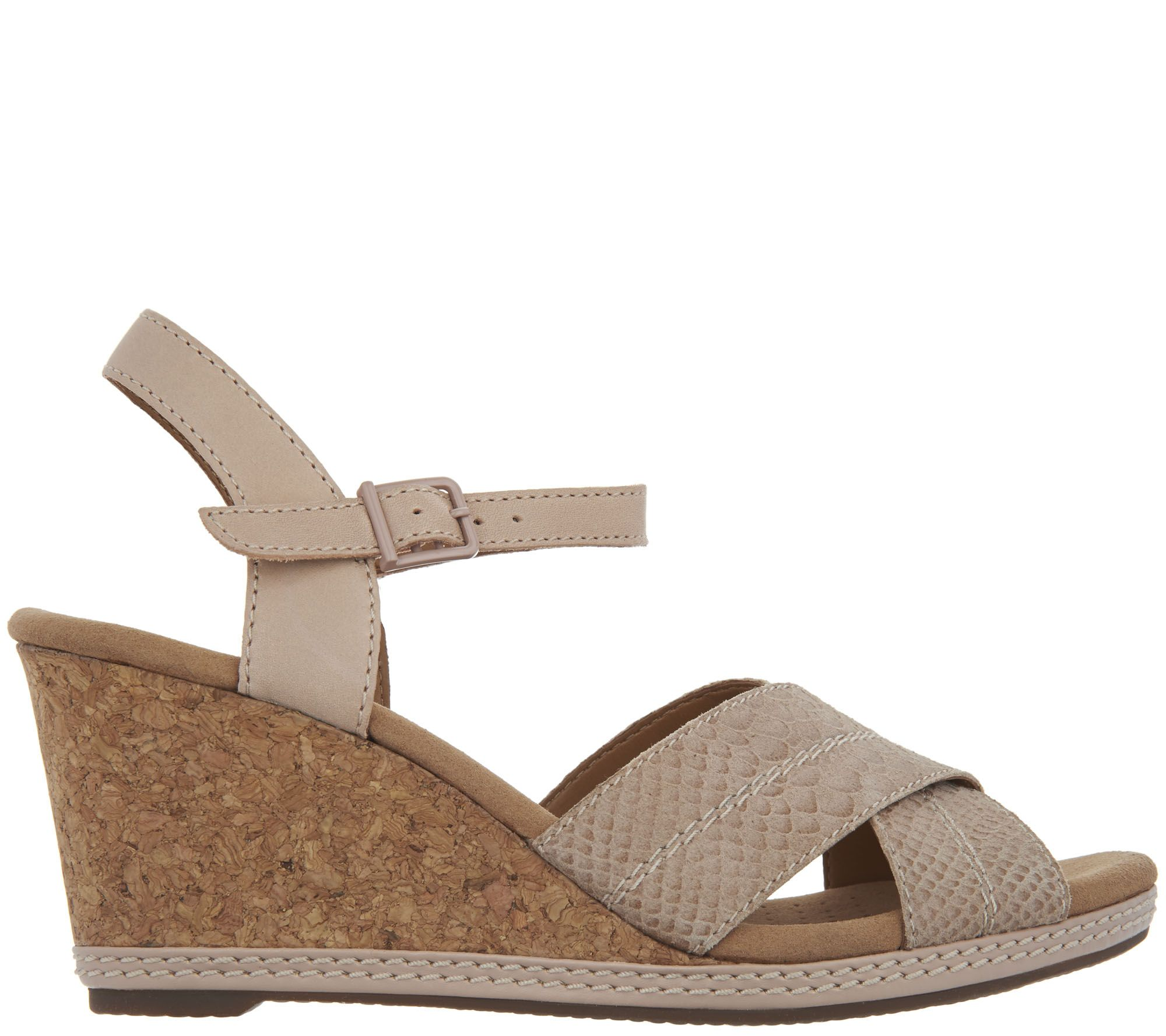 41d0ab08865 Clarks Leather Cork Wedge Sandals - Helio Latitude - Page 1 — QVC.com