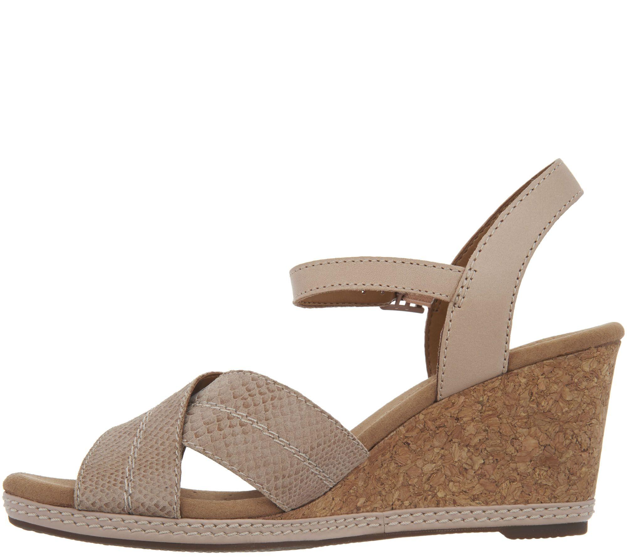 1e4407a6c2d5 Clarks Leather Cork Wedge Sandals - Helio Latitude - Page 1 — QVC.com