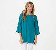 Linea by Louis DellOlio Pebble Crepe Tunic with Inverted Pleats - A290929