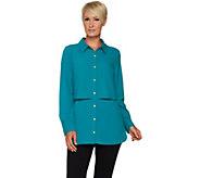 Susan Graver Petite Stretch Woven Button Front Shirt - A294029