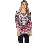 Attitudes by Renee Placement Print V-Neck Tunic w/ Side Slits - A294129