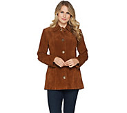 Dennis Basso Washable Suede Turnkey Jacket - A294629