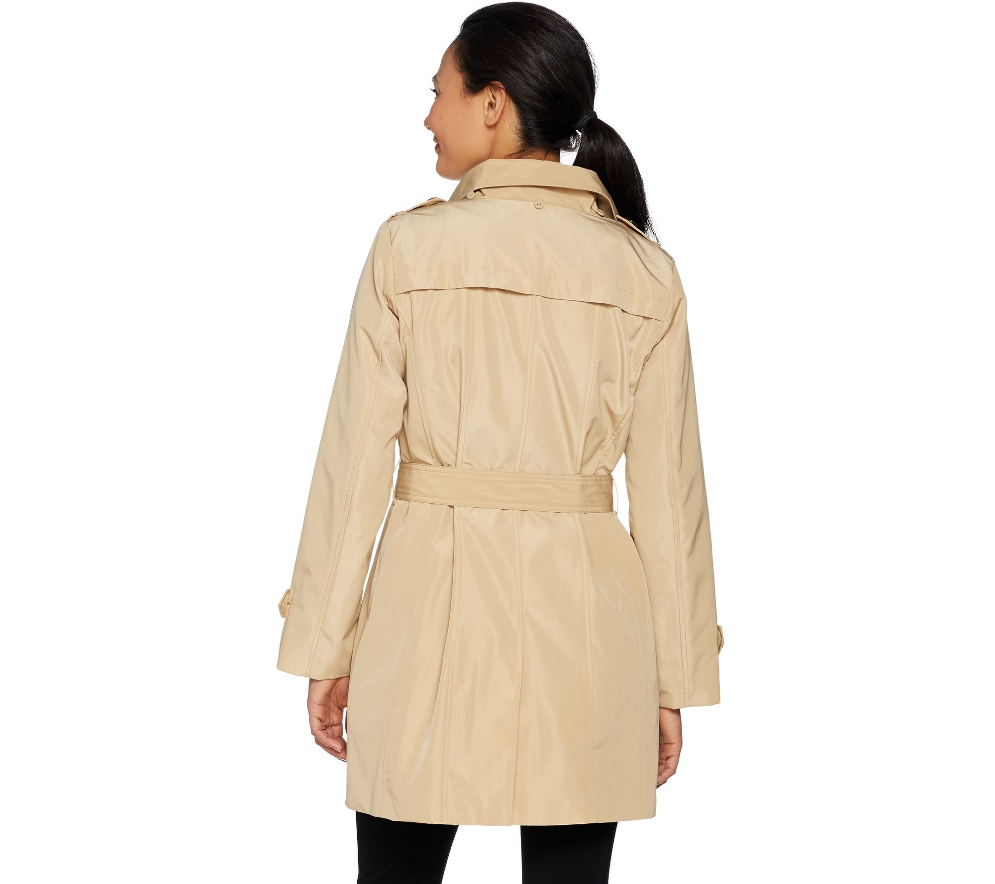 c21372609 Joan Rivers Water Resistant Trench Coat w/ Removable Hood - Page 1 — QVC.com