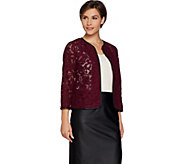 Joan Rivers Who Are You Wearing Lace Jacket w/ Faux Leather - A298129