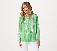 Bob Mackies Woven Pinstriped Button Front Blouse - A305229