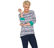 Women with Control Striped Dropped Shoulder Top w/ Contrast Cuff - A306429