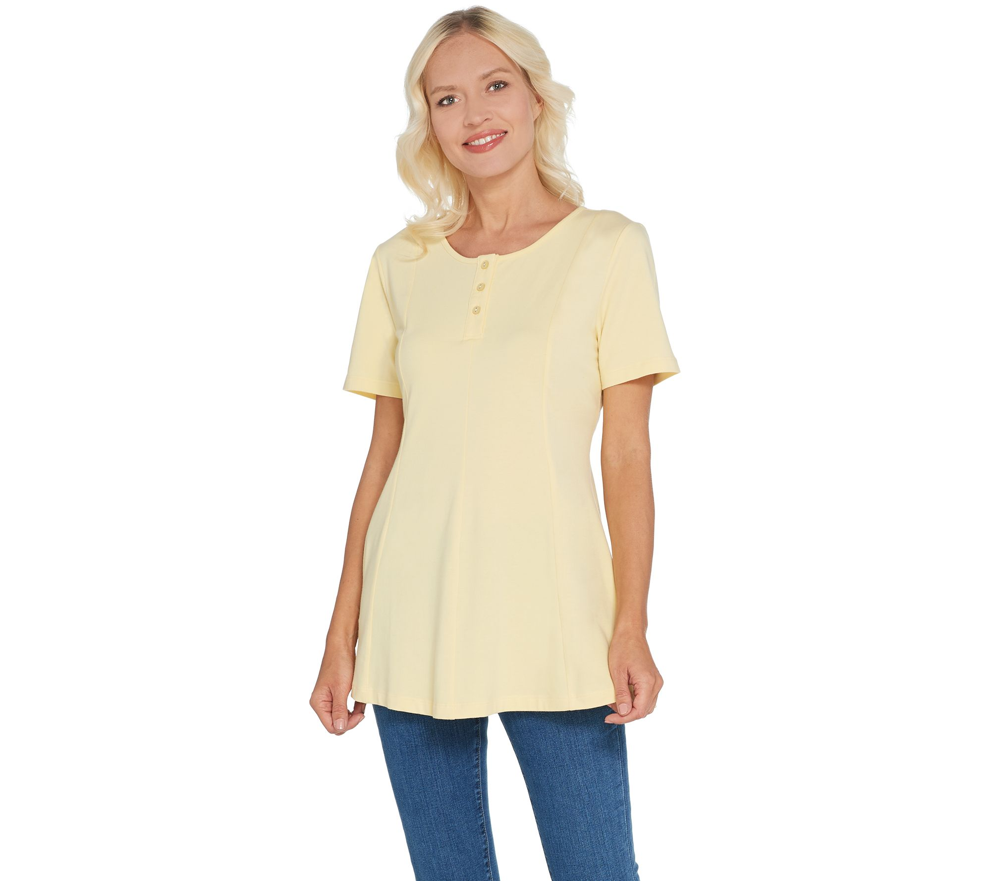 Denim/& Co Essentials Round Neck Fit Flare Henley Knit Top White M NEW A307529