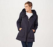 Martha Stewart Water Resistant Coat with Pleated Hood Collar - A342429