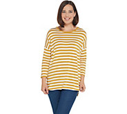 Martha Stewart Knit Striped 3/4 Sleeve Tunic - A342529