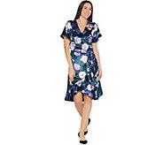 Isaac Mizrahi Live! Floral Printed Velvet Faux Wrap Dress - A344329
