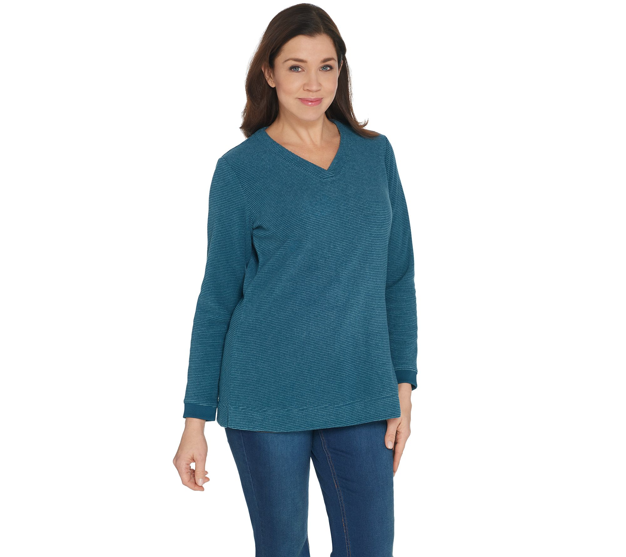 121c0e1c0d Denim   Co. Reg. Chenille Fleece V-Neck Long-Sleeve Tunic - Page 1 — QVC.com