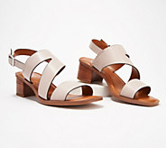 Franco Sarto Leather Heeled Sandals w/ Asymmetrical Strap - Lilah - A350329