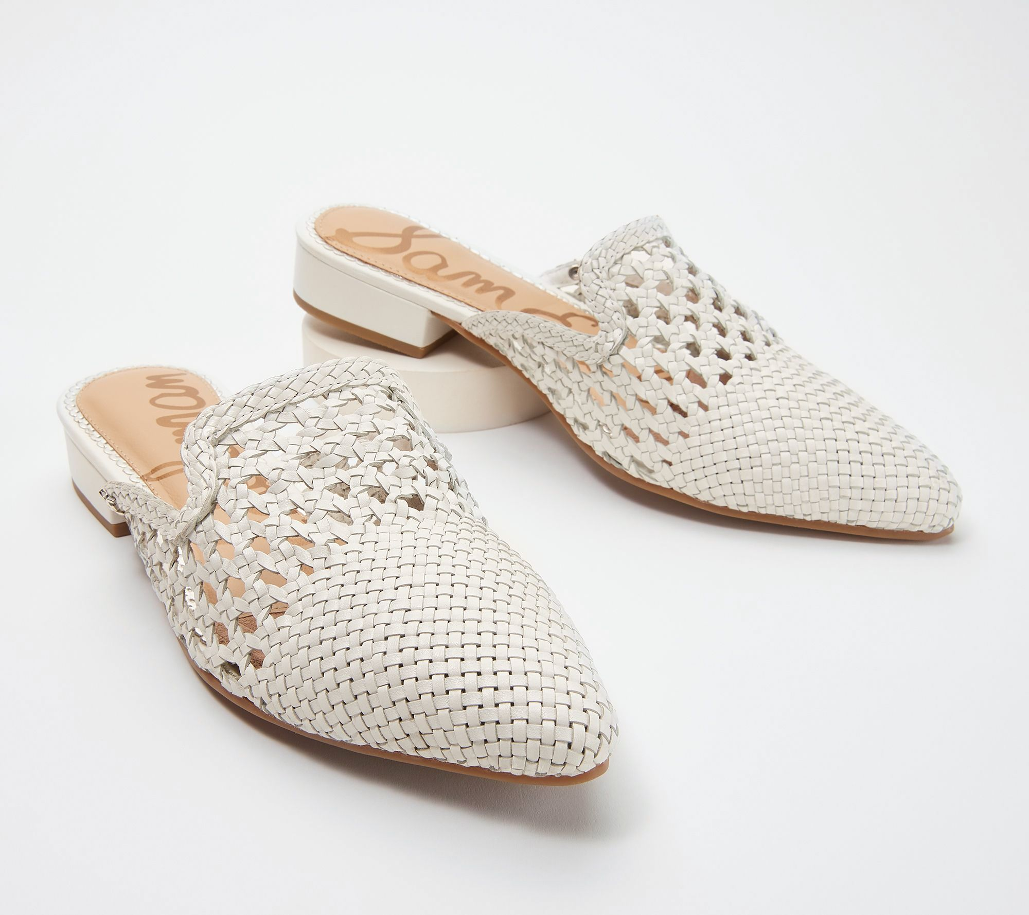 67821c1bb Sam Edelman Woven Leather Mules - Clara - Page 1 — QVC.com