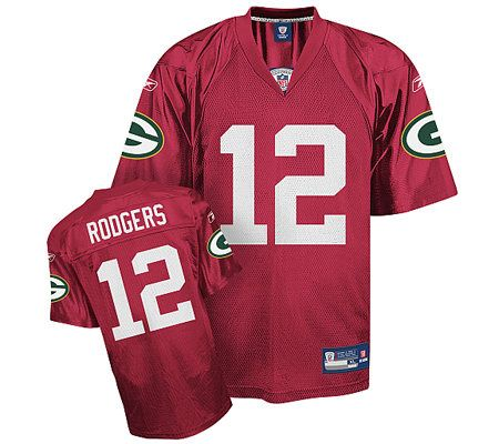 a4f18e384 NFL Green Bay Packers Aaron Rodgers Red QB Practice Jersey — QVC.com