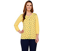 Liz Claiborne New York 3/4 Sleeve Pineapple Print Knit Cardigan - A252130
