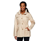 Dennis Basso Water Resistant Floral Lined Anorak Jacket with Hood - A252630