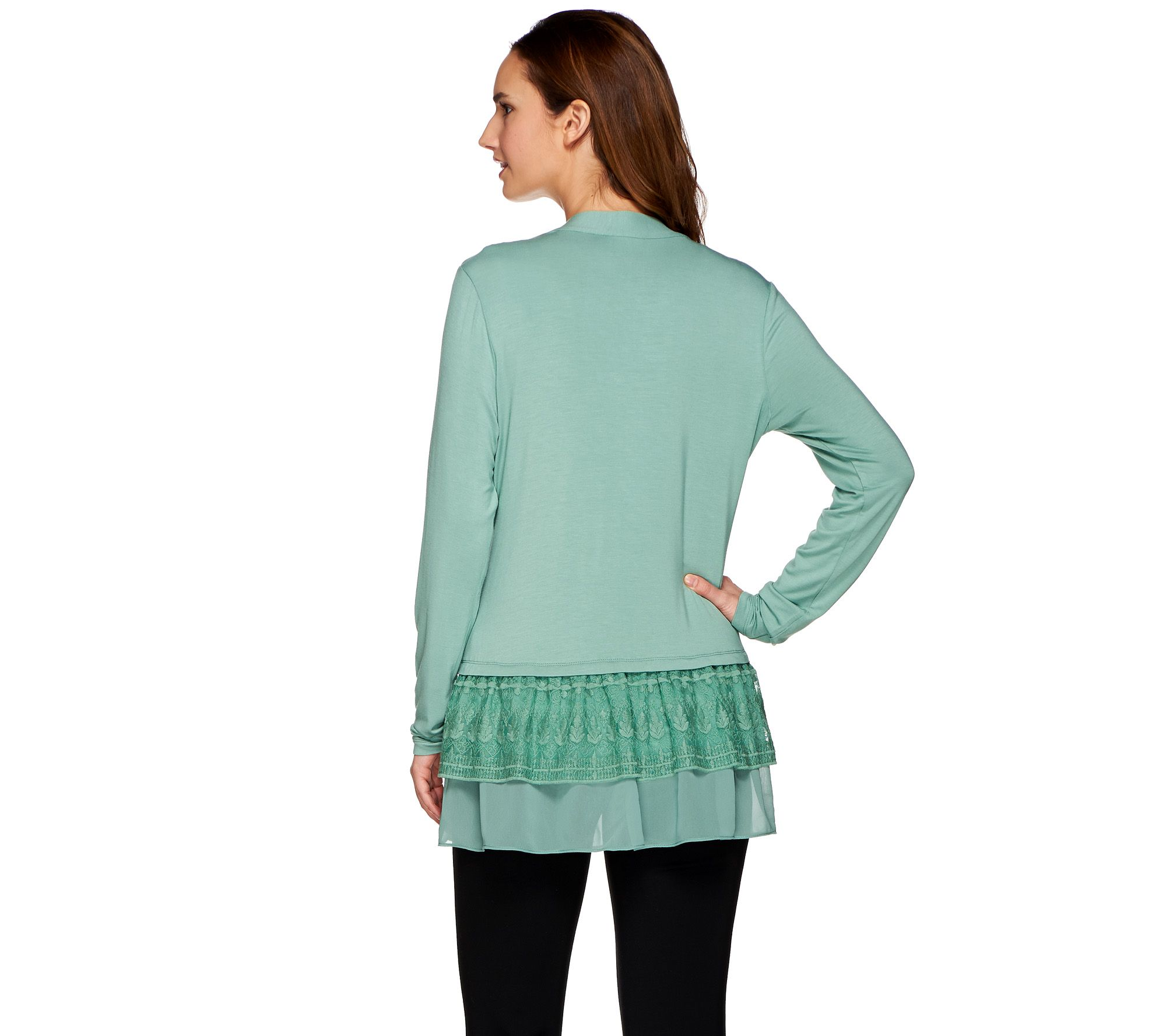 aed2176aadaf6 LOGO by Lori Goldstein Knit Cardigan with Chiffon & Embroidery - Page 1 —  QVC.com