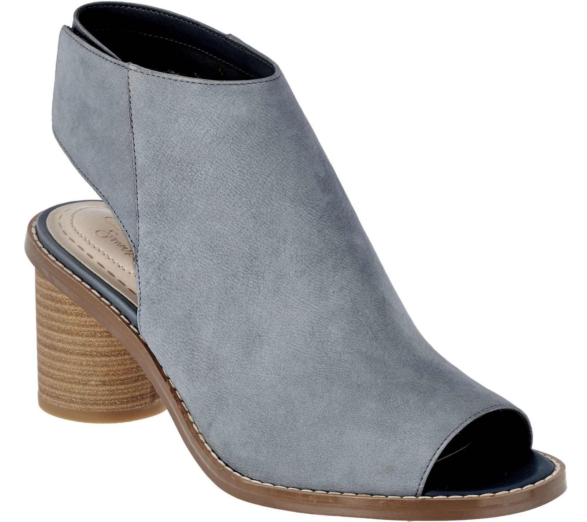 1e476cdf461 Clarks Somerset Suede Peep-toe Stacked Heel Booties - Glacier Charm - Page  1 — QVC.com