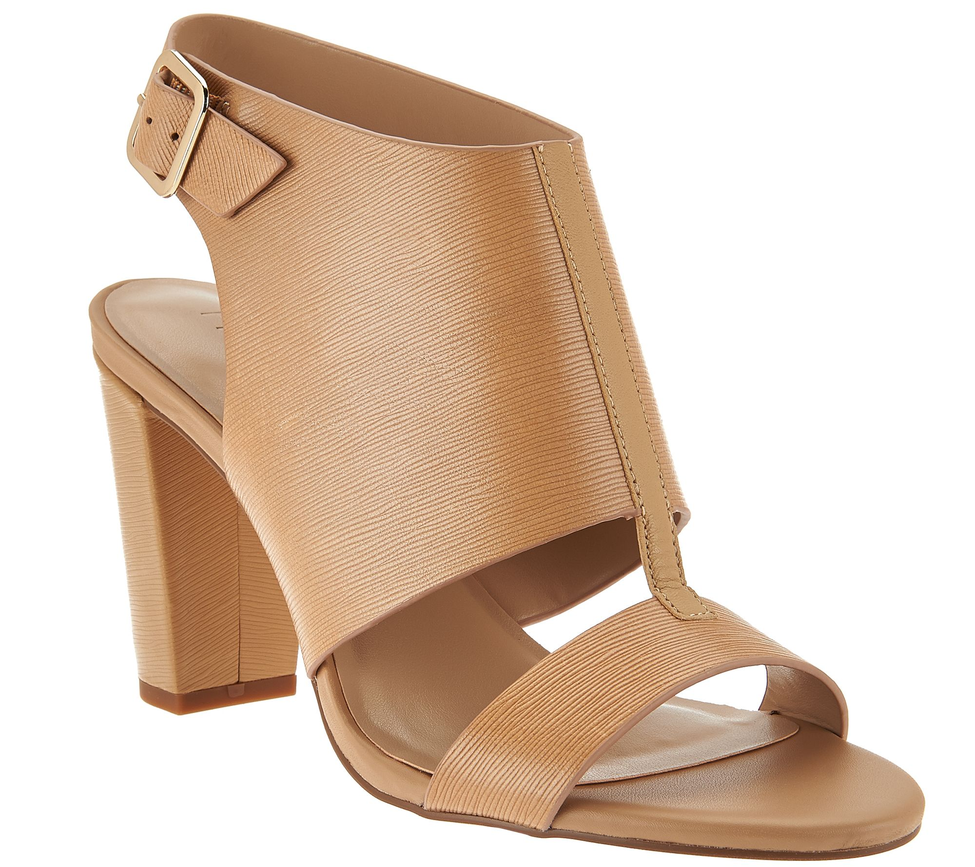 e2c9a2bbeb2143 H by Halston Leather Block Heel Sandals - Catrina - Page 1 — QVC.com
