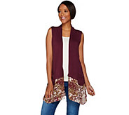 LOGO by Lori Goldstein Knit Vest with Printed Trim and Pockets - A276830