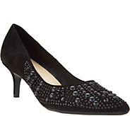 Isaac Mizrahi Live! Suede Pumps with Embellishments - A284230