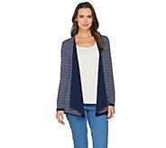 Susan Graver Reversible Liquid Knit Long Sleeve Cardigan - A286730
