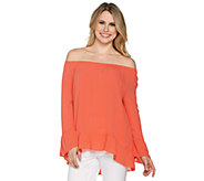 Du Jour Bell Sleeve Crinkle Gauze Off the Shoulder Top - A293730