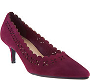 Isaac Mizrahi Live! Suede Pumps with Cutout Detail - A294430