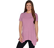 Cuddl Duds Softwear with Stretch Handkerchief Hem Tunic Top - A302330