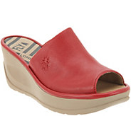 FLY London Leather Slip On Wedges - Jamb - A305130