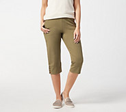 Denim & Co. Active Wide Cuff Knit Capri Pants with Buttons - A307530