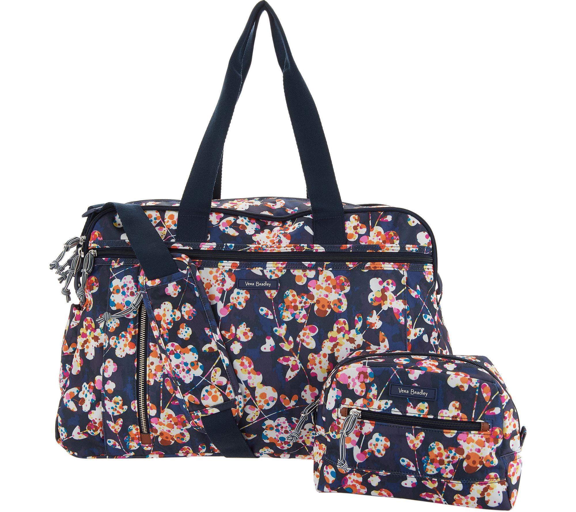 Vera Bradley Lighten Up Weekender Travel Bag W Cosmetic Case Qvc