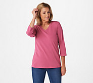 Denim & Co. Essentials V-Neck 3/4-Sleeve Top - A309330