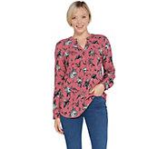 Denim & Co. Etched Floral Print Split Y-Neck Pullover Shirt - A309430