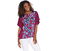 Bob Mackies Painterly Floral Front Caftan Top - A310930