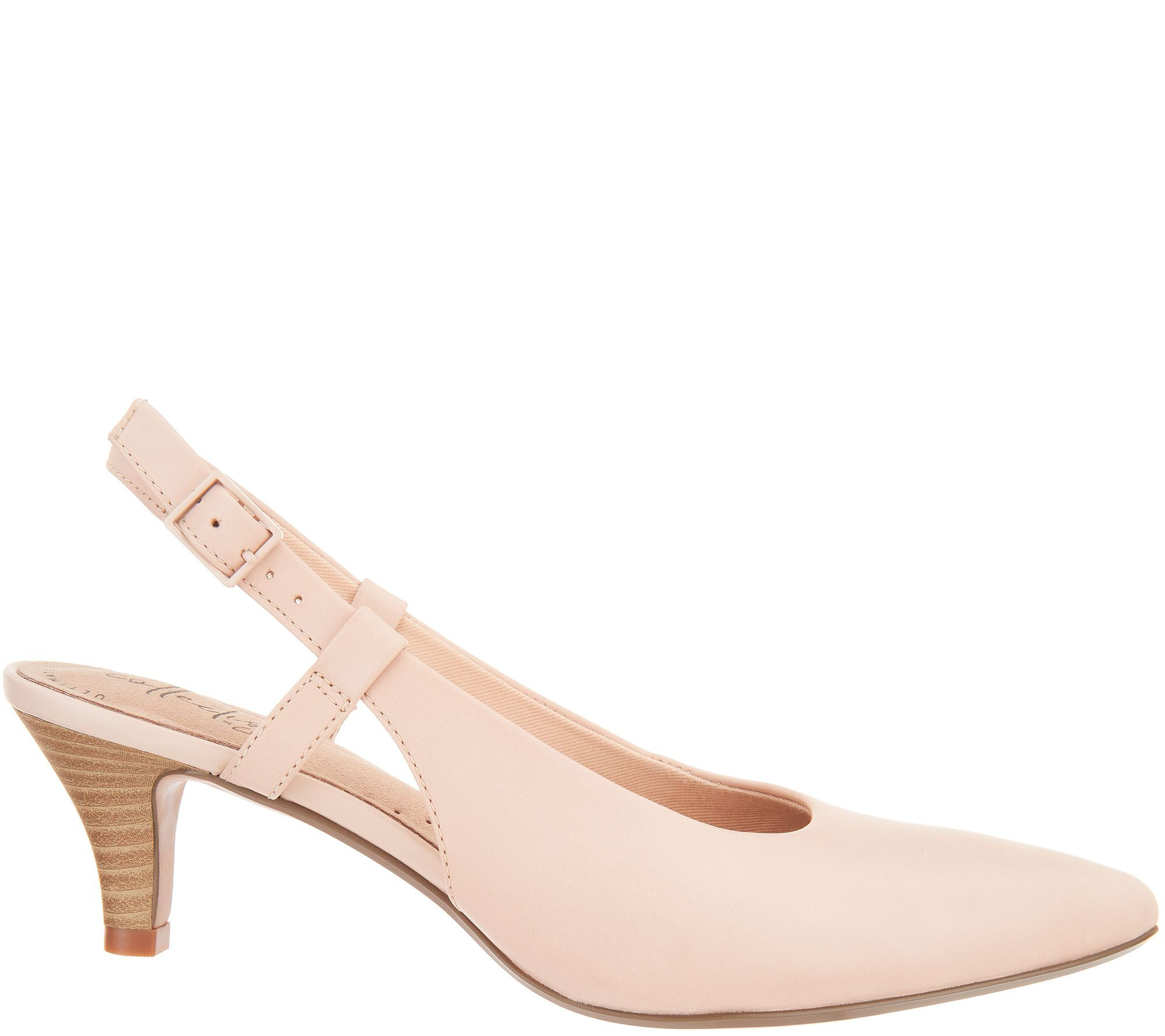4f486f9c7eb Clarks Collection Leather Slingback Pumps - Linvale Loop — QVC.com