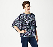 Quacker Factory Palm Printed Caftan Top with Rhinestones - A351130