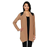 As Is Joan Rivers Open Front Cardigan w/ Faux Leather Shoulder Detail - A365630