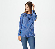 Quacker Factory Leaf Printed Top with Rhinestones - A367130