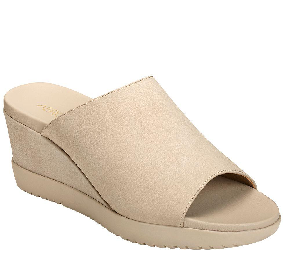 0389c6e0637d Aerosoles Slip-On Wedge Sandals - Blonde - Page 1 — QVC.com