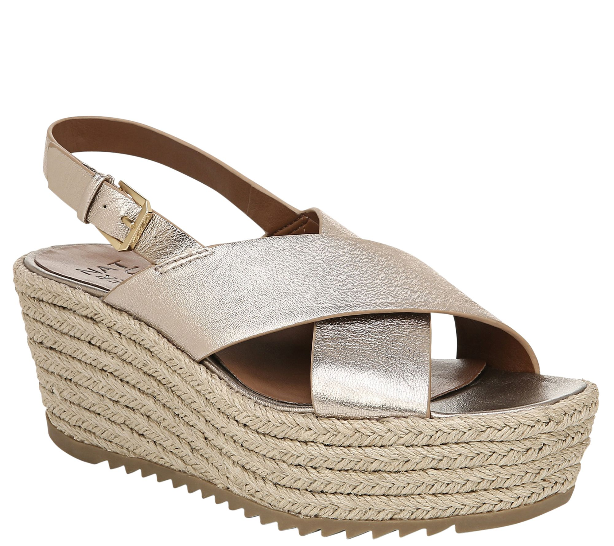 casual shoes cheap for discount low price sale Naturalizer Leather Slingback Espadrilles Wedges - Oak — QVC.com