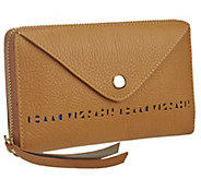 Isaac Mizrahi Live! Bridgehampton Perforated Leather Wallet - A264631