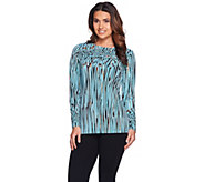 Bob Mackies Long Sleeve Bateau Neck Printed Knit Top - A268231