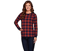 Denim & Co. Plaid Printed Crew Neck Top with Zipper Detail - A270131