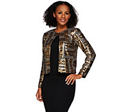 Bob Mackies Long Sleeve Open Front Sequin Jacket - A271131