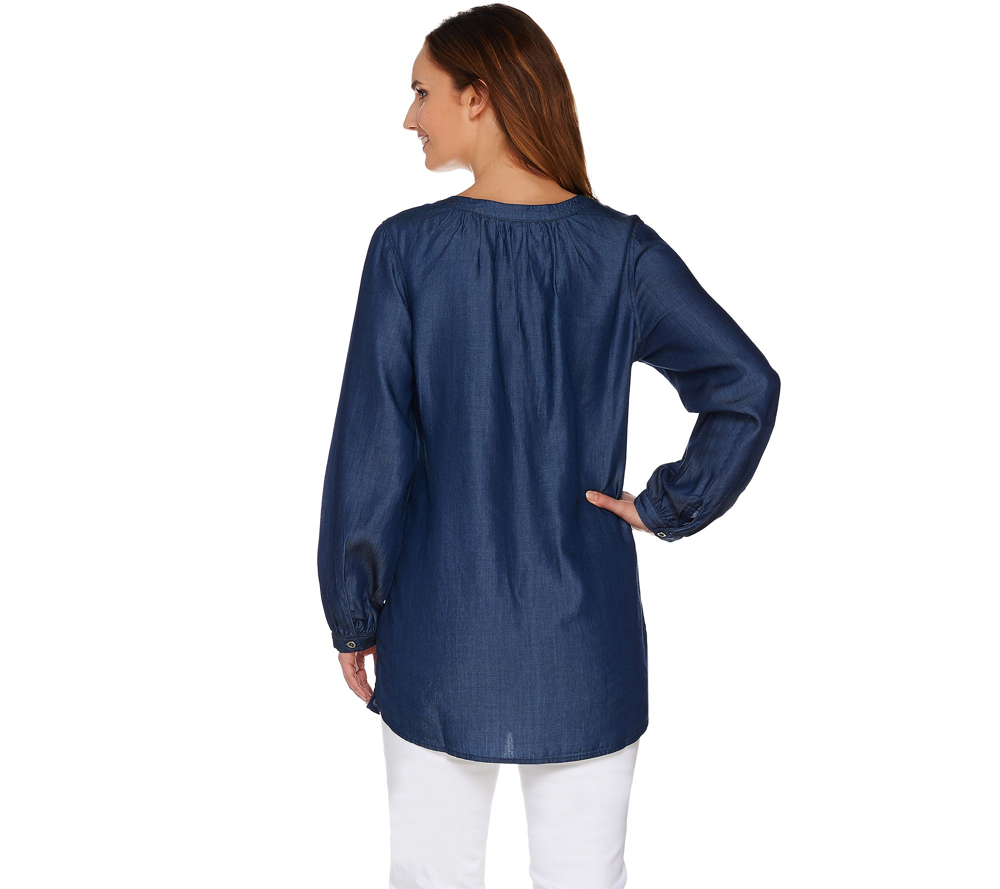 a6a089bc8a9 Denim & Co. Long Sleeve Denim Peasant Tunic - Page 1 — QVC.com