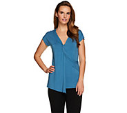 H by Halston Twist Front V-Neck Knit Top - A277931